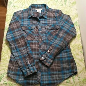 ExOfficio Blue Flannel Shirt Women's Cute Outdoor